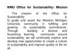 wmu office for sustainability mission