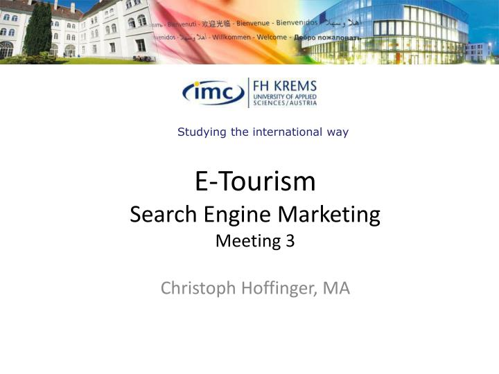 e tourism search engine marketing meeting 3 n.
