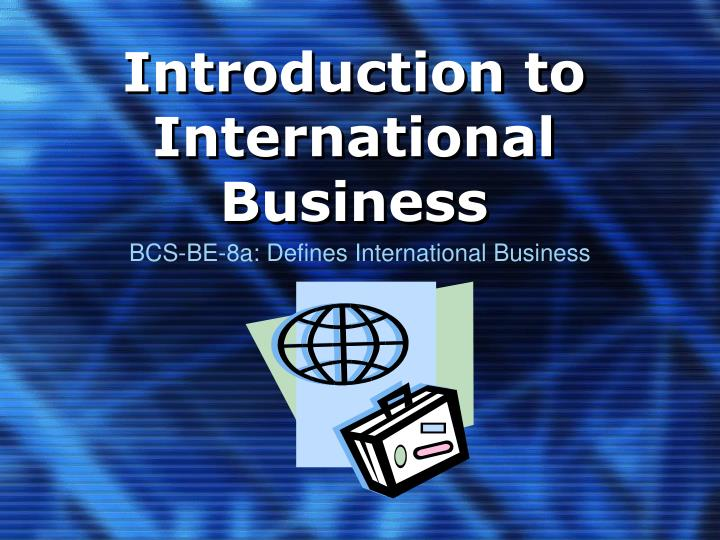 introduction to international business n.