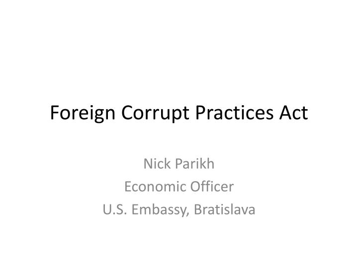 foreign corrupt practices act n.