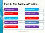 part a the business practices