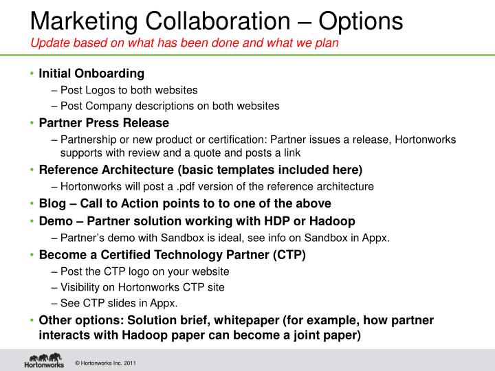 Marketing Collaboration – Options