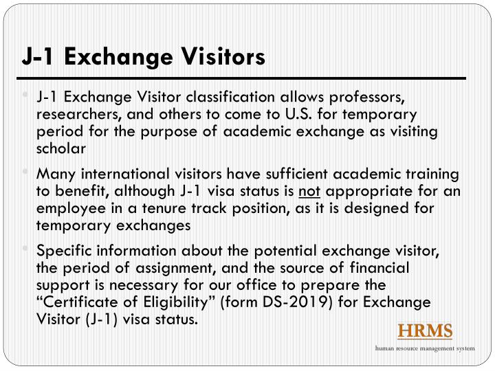 J-1 Exchange Visitors