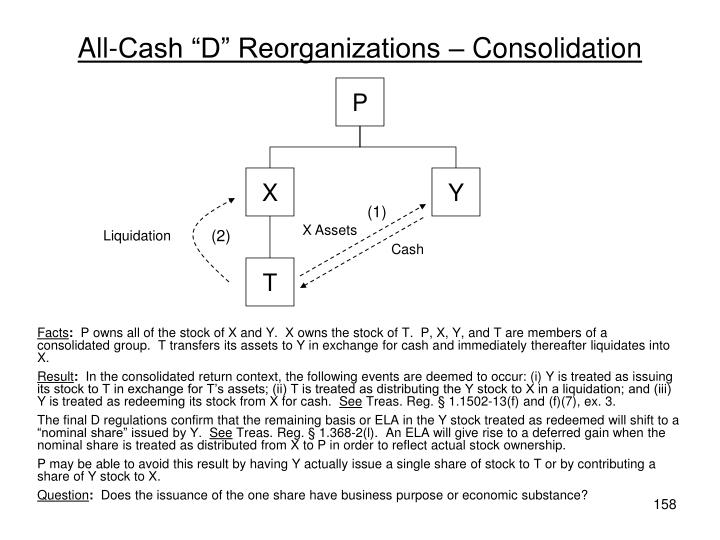 "All-Cash ""D"" Reorganizations – Consolidation"