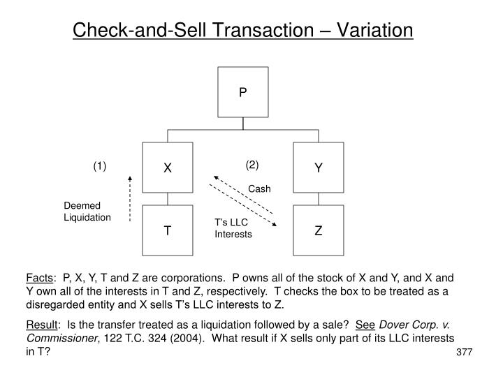 Check-and-Sell Transaction – Variation