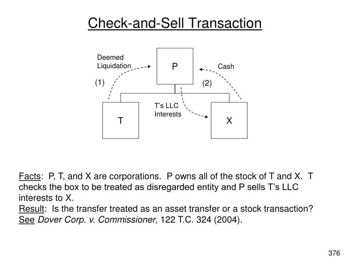 Check-and-Sell Transaction