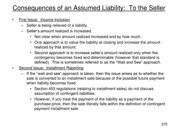 Consequences of an Assumed Liability:  To the Seller