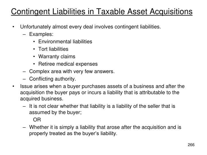 Contingent Liabilities in Taxable Asset Acquisitions