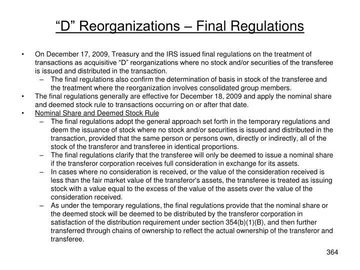 """D"" Reorganizations – Final Regulations"