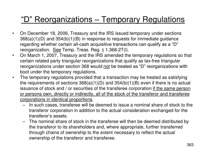 """D"" Reorganizations – Temporary Regulations"