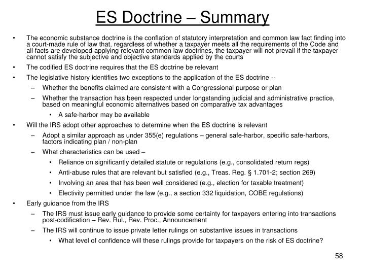 ES Doctrine – Summary