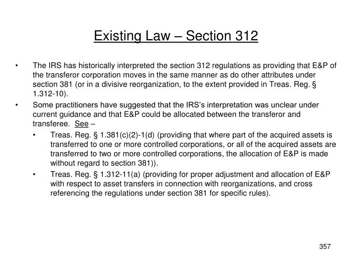 Existing Law – Section 312