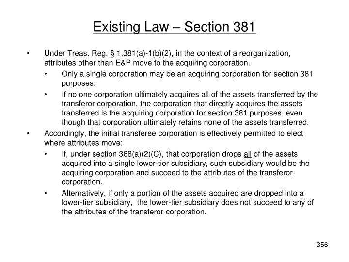 Existing Law – Section 381