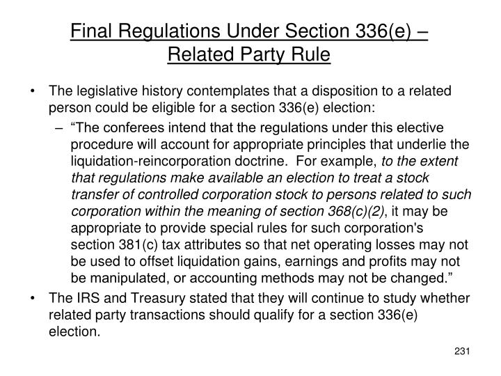 Final Regulations Under Section 336(e