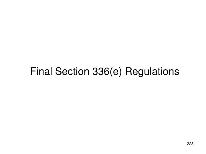 Final Section 336(e) Regulations