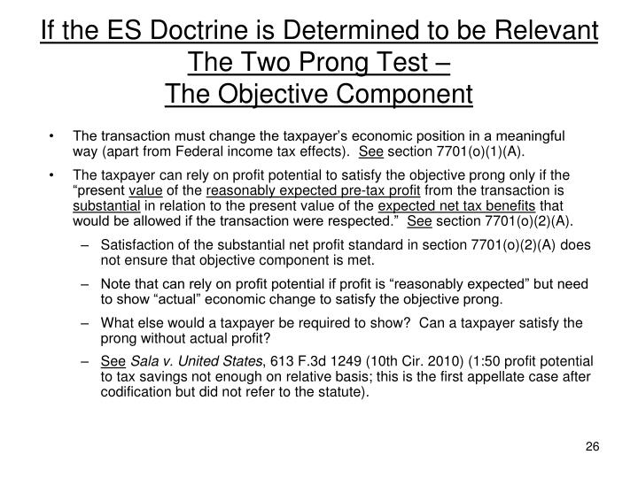 If the ES Doctrine is Determined to be Relevant