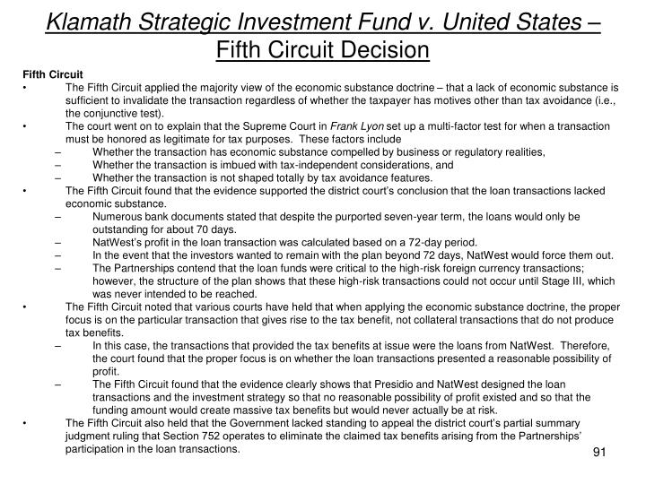 Klamath Strategic Investment Fund v. United States –