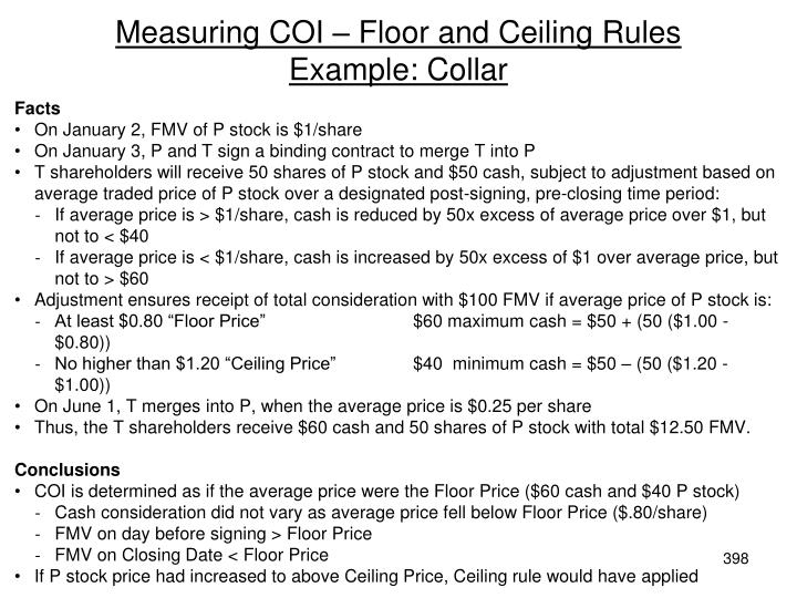 Measuring COI – Floor and Ceiling Rules