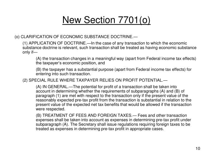 New Section 7701(o)