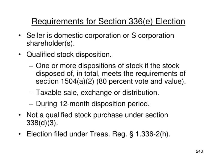 Requirements for Section 336(e) Election