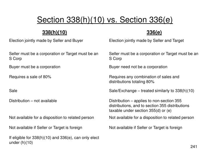Section 338(h)(10) vs. Section 336(e)