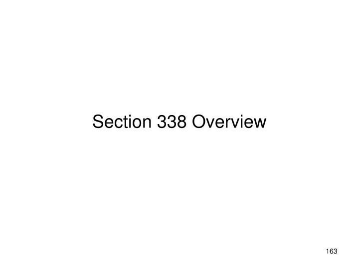 Section 338 Overview
