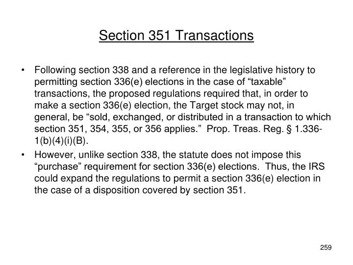 Section 351 Transactions