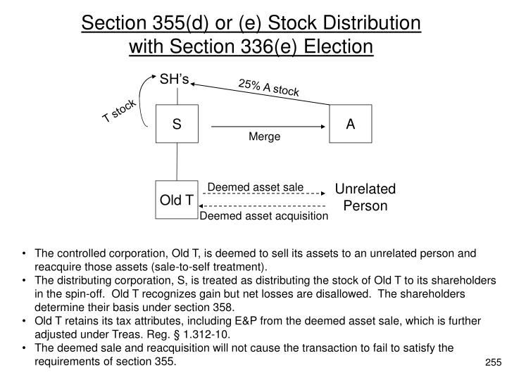 Section 355(d) or (e) Stock Distribution