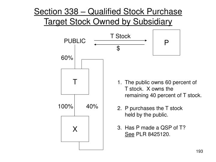 Section 338 – Qualified Stock Purchase