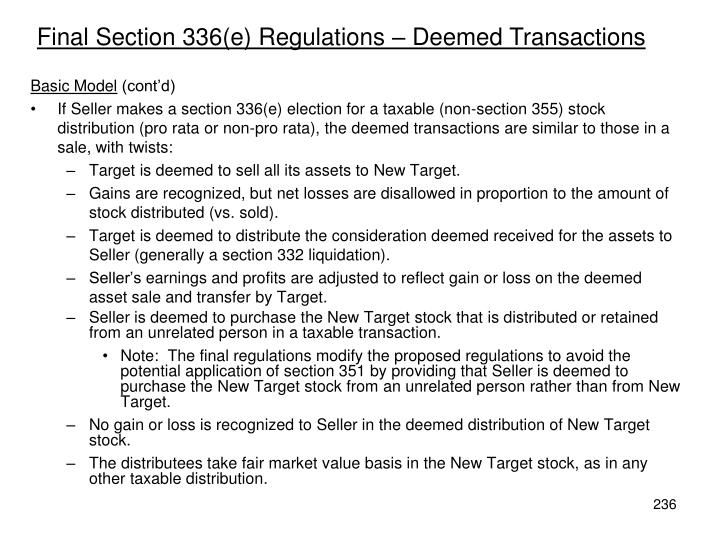 Final Section 336(e) Regulations – Deemed Transactions