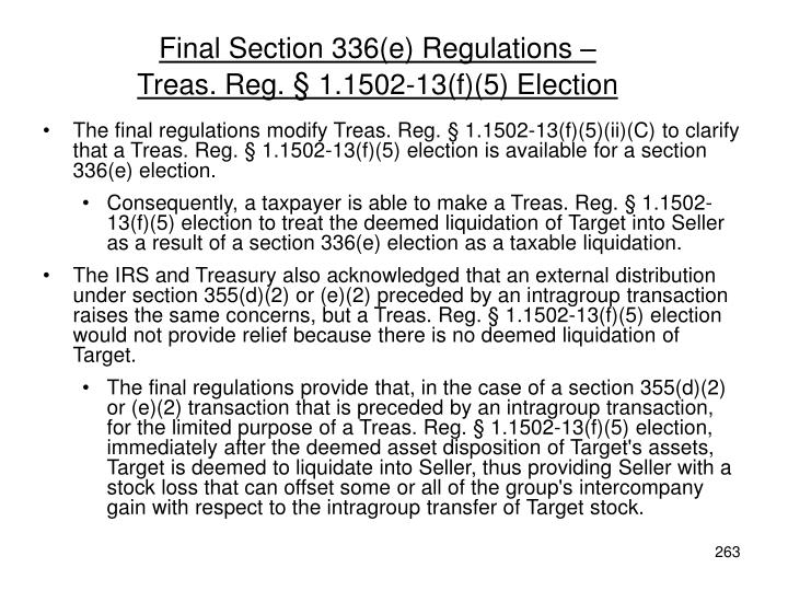 Final Section 336(e) Regulations –
