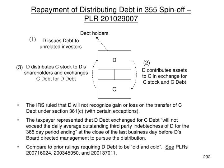 Repayment of Distributing Debt in 355 Spin-off –                  PLR 201029007