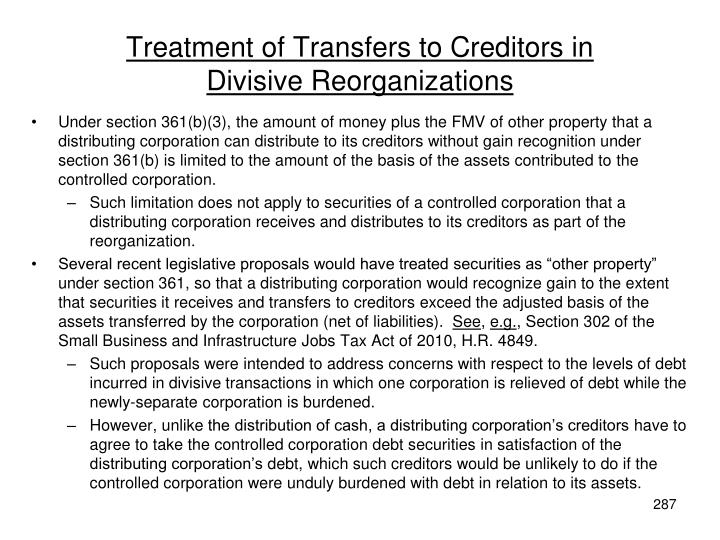 Treatment of Transfers to Creditors in