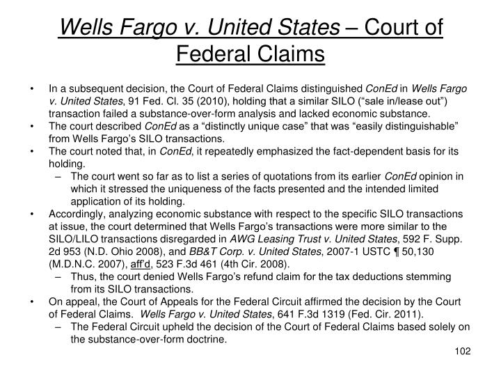 Wells Fargo v. United States –
