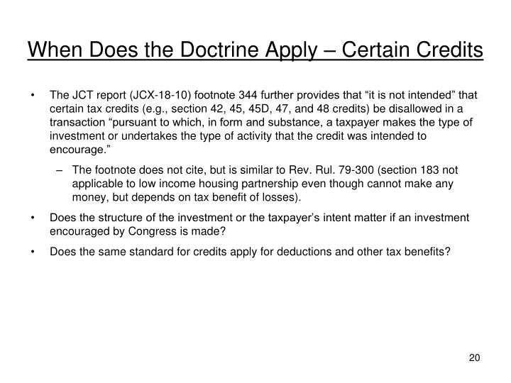 When Does the Doctrine Apply – Certain Credits