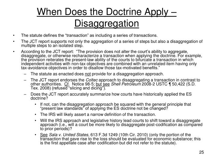 When Does the Doctrine Apply – Disaggregation