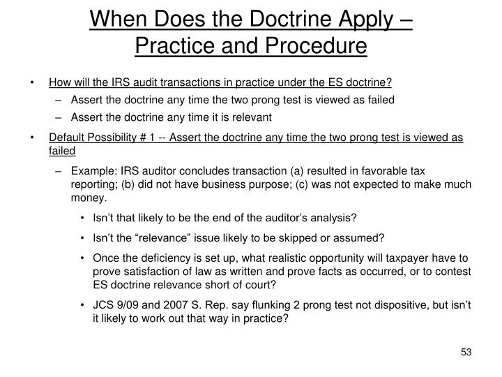 When Does the Doctrine Apply –