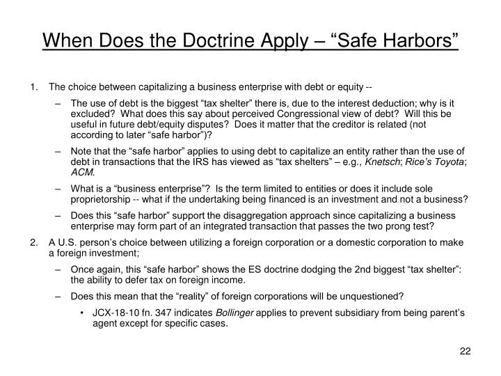 "When Does the Doctrine Apply – ""Safe Harbors"""