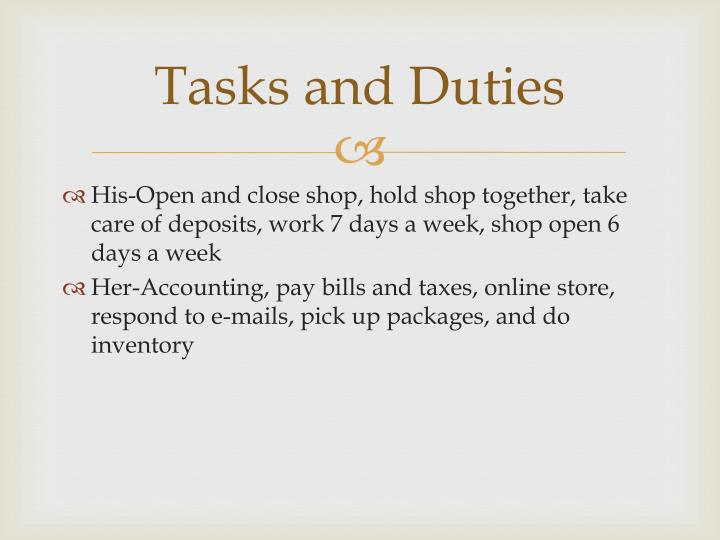 Tasks and Duties