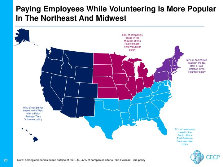 Paying Employees While Volunteering Is More Popular In The Northeast And Midwest
