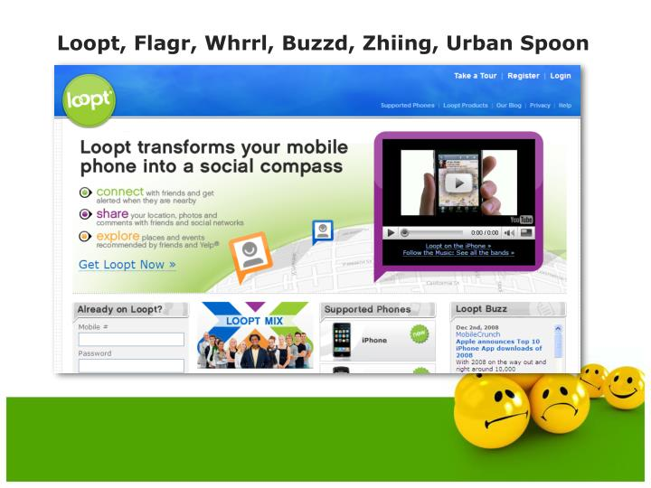 Loopt, Flagr, Whrrl, Buzzd, Zhiing, Urban Spoon