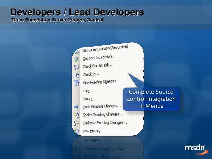 Complete Source Control Integration in Menus