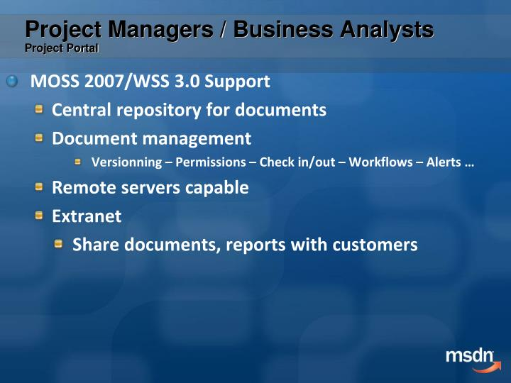 Project Managers / Business Analysts