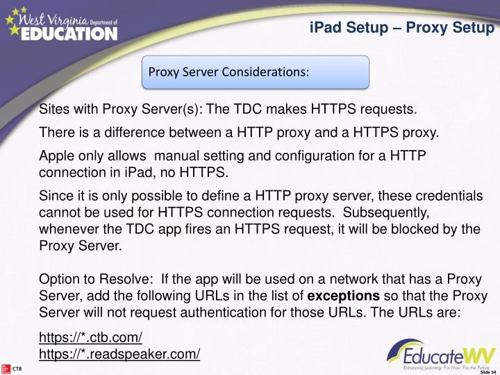 iPad Setup Proxy Setup