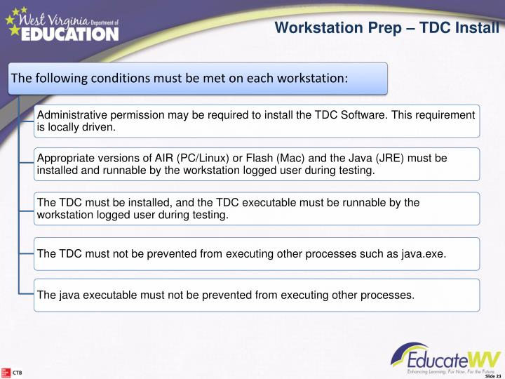 The following conditions must be met on each workstation: