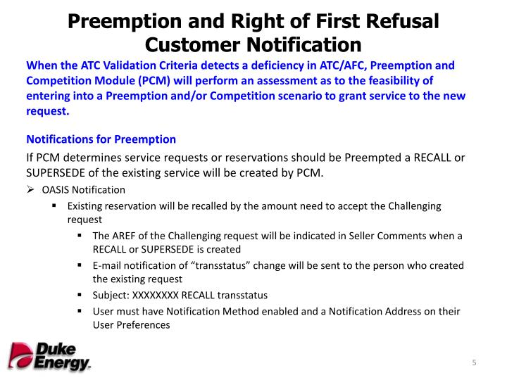 Preemption and Right of First Refusal Customer Notification