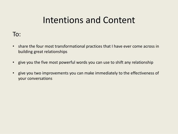 Intentions and content