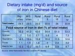 dietary intake mg d and source of iron in chinese diet