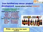 iron fortified soy sauce product development annual output reached 93 000 mt
