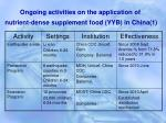 ongoing activities on the application of nutrient dense supplement food yyb in china 1